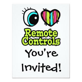 Bright Eye Heart I Love Remote Controls 4.25x5.5 Paper Invitation Card