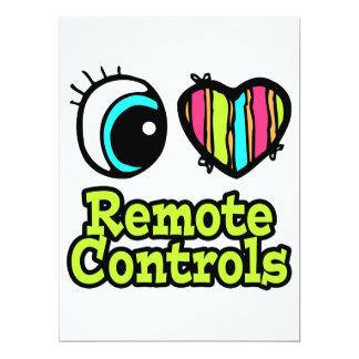 Bright Eye Heart I Love Remote Controls 6.5x8.75 Paper Invitation Card