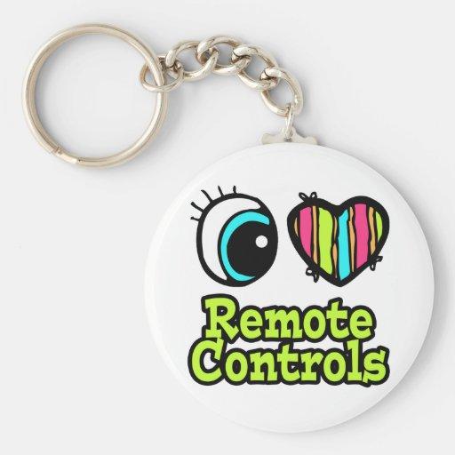 Bright Eye Heart I Love Remote Controls Keychain