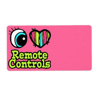 Bright Eye Heart I Love Remote Controls Shipping Label