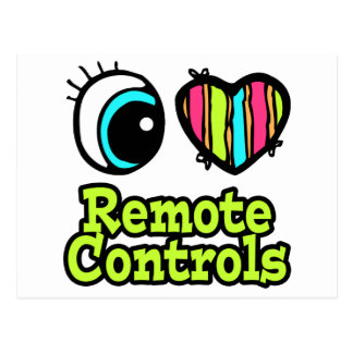 Bright Eye Heart I Love Remote Controls Postcard