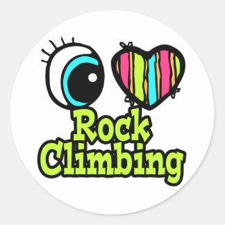 Bright Eye Heart I Love Rock Climbing Classic Round Sticker