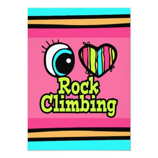Bright Eye Heart I Love Rock Climbing 4.5x6.25 Paper Invitation Card
