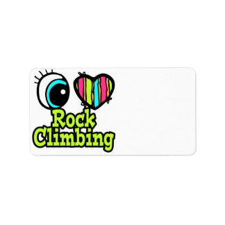 Bright Eye Heart I Love Rock Climbing Custom Address Labels
