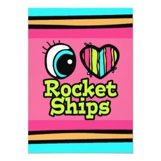 Bright Eye Heart I Love Rocket Ships 4.5x6.25 Paper Invitation Card