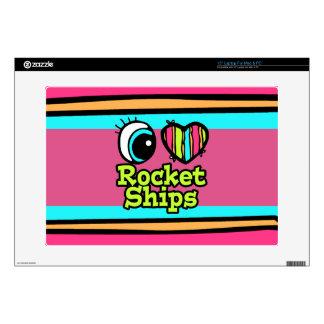 Bright Eye Heart I Love Rocket Ships Laptop Decals