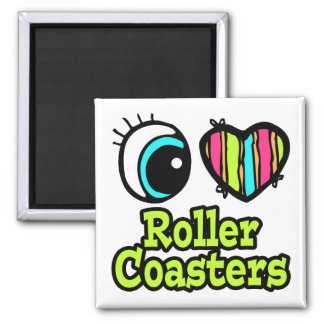 Bright Eye Heart I Love Roller Coasters 2 Inch Square Magnet