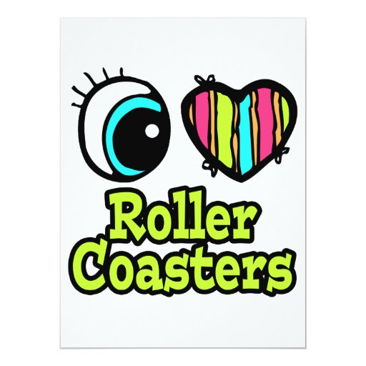 Bright Eye Heart I Love Roller Coasters Card