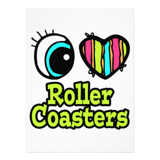 Bright Eye Heart I Love Roller Coasters Personalized Announcements
