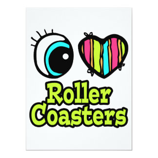 Bright Eye Heart I Love Roller Coasters 6.5x8.75 Paper Invitation Card