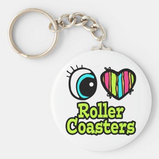 Bright Eye Heart I Love Roller Coasters Basic Round Button Keychain