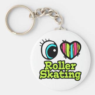 Bright Eye Heart I Love Roller Skating Basic Round Button Keychain