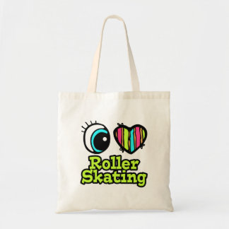 Bright Eye Heart I Love Roller Skating Budget Tote Bag