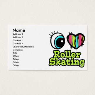 Bright Eye Heart I Love Roller Skating Business Card