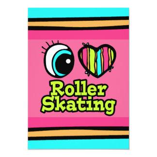 Bright Eye Heart I Love Roller Skating 5x7 Paper Invitation Card