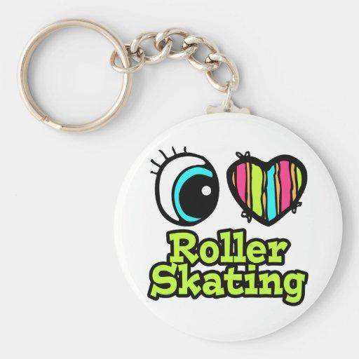 Bright Eye Heart I Love Roller Skating Key Chains