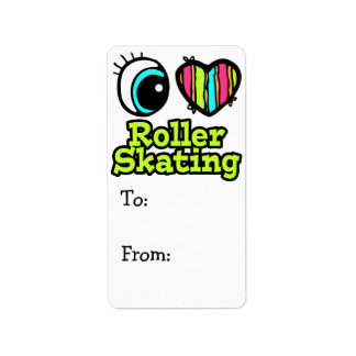Bright Eye Heart I Love Roller Skating Personalized Address Labels