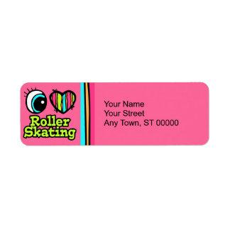 Bright Eye Heart I Love Roller Skating Return Address Label