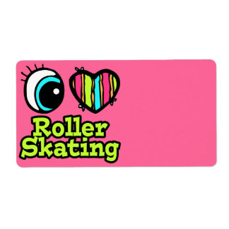 Bright Eye Heart I Love Roller Skating Personalized Shipping Label