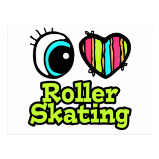Bright Eye Heart I Love Roller Skating Postcard