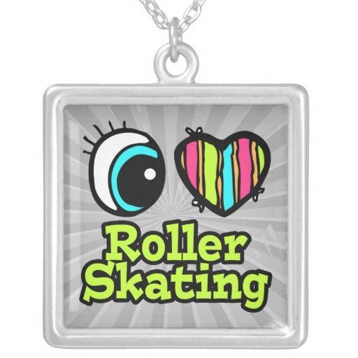 Bright Eye Heart I Love Roller Skating Square Pendant Necklace