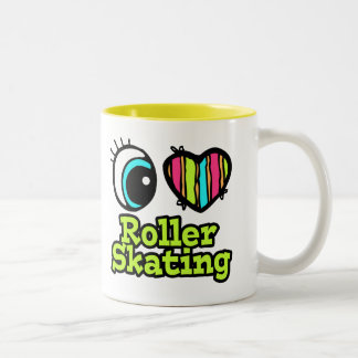 Bright Eye Heart I Love Roller Skating Two-Tone Coffee Mug