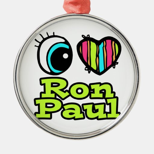 Bright Eye Heart I Love Ron Paul Round Metal Christmas Ornament