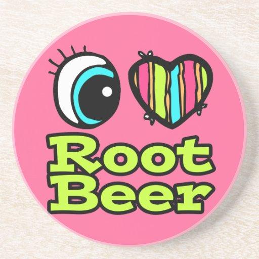 Bright Eye Heart I Love Root Beer Beverage Coasters