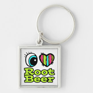 Bright Eye Heart I Love Root Beer Silver-Colored Square Keychain