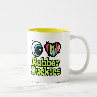 Bright Eye Heart I Love Ruber Duckies Two-Tone Coffee Mug
