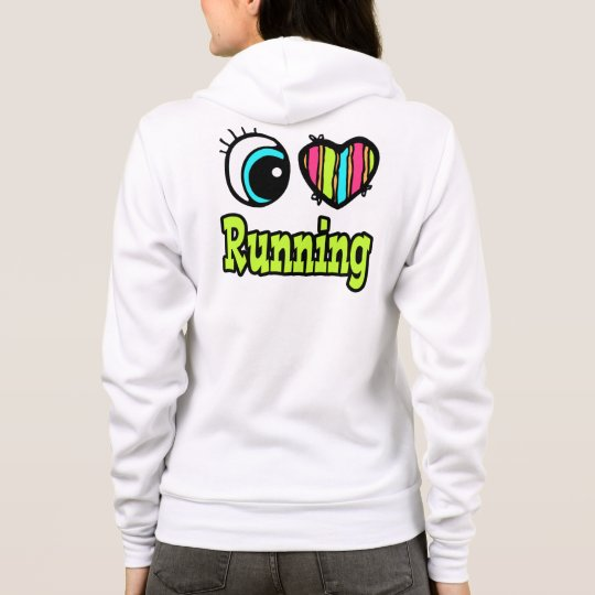 Bright Eye Heart I Love Running Hoodie