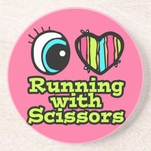 Bright Eye Heart I Love Running With Scissors Drink Coaster