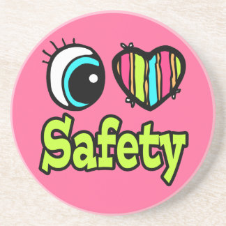 Bright Eye Heart I Love Safety Drink Coaster