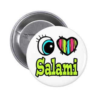 Bright Eye Heart I Love Salami 2 Inch Round Button