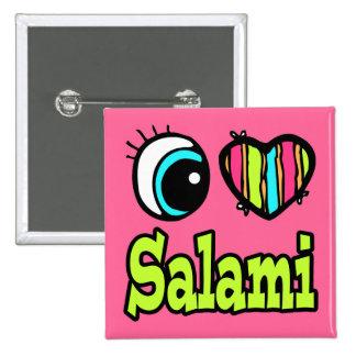 Bright Eye Heart I Love Salami 2 Inch Square Button
