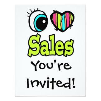 Bright Eye Heart I Love Sales 4.25x5.5 Paper Invitation Card