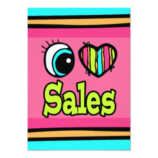 Bright Eye Heart I Love Sales 4.5x6.25 Paper Invitation Card