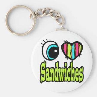 Bright Eye Heart I Love Sandwiches Basic Round Button Keychain