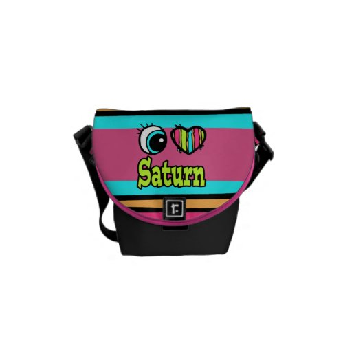Bright Eye Heart I Love Saturn Courier Bags