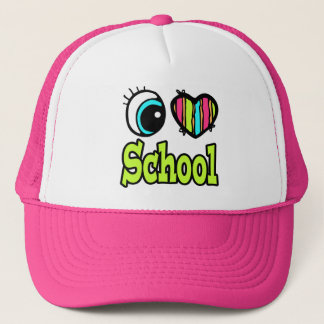 Bright Eye Heart I Love School Trucker Hat