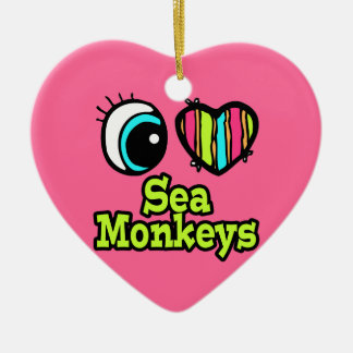 Bright Eye Heart I Love Sea Monkeys Ceramic Ornament