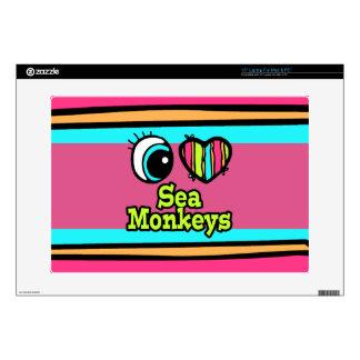 "Bright Eye Heart I Love Sea Monkeys 15"" Laptop Skins"