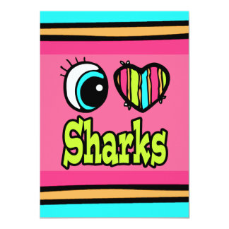 Bright Eye Heart I Love Sharks Card