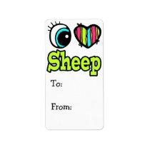 Bright Eye Heart I Love Sheep Label