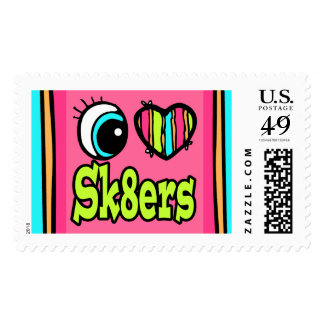 Bright Eye Heart I Love Sk8ters Skaters Postage Stamp