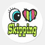 Bright Eye Heart I Love Skipping Classic Round Sticker