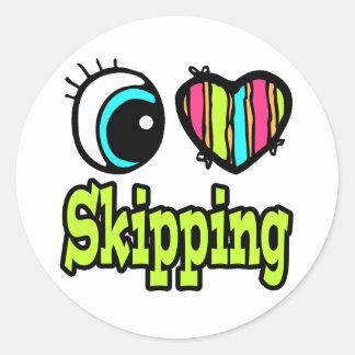 Bright Eye Heart I Love Skipping Round Sticker