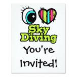 Bright Eye Heart I Love Skydiving 4.25x5.5 Paper Invitation Card