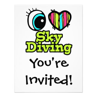 Bright Eye Heart I Love Skydiving Personalized Invitation