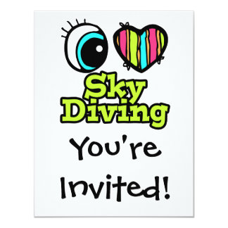 Bright Eye Heart I Love Skydiving 4.25x5.5 Paper Invitation Card